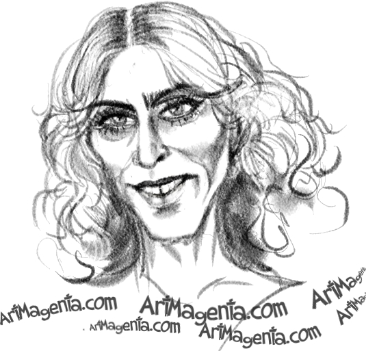A Madonna caricature cartoon. Portrait drawing by caricaturist Artmagenta.