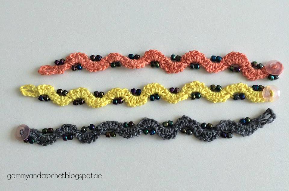 All About Crochet Free Pattern Beaded Crochet Chain Bracelet