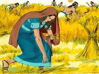 Моавката Рут събира оставеното жито