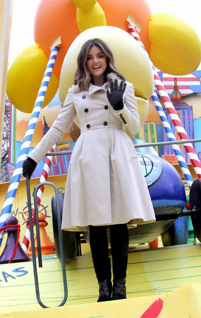 Lucy Hale in a chic trench coat at Macy's Annual Thanksgiving Parade in NYC