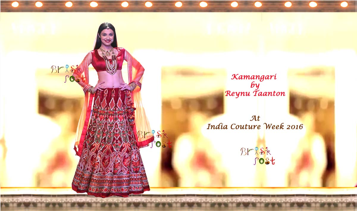 Showstopper Divya Khosla walk ramp for Kamangari by Reynu Taandon at ICW2016