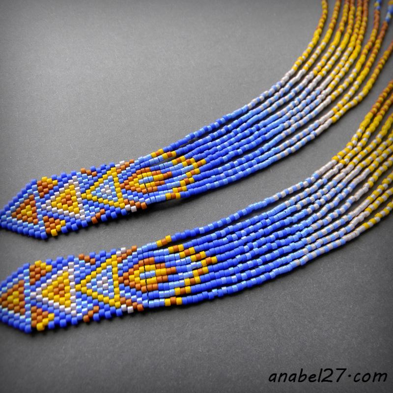 купить очень длинные висячие серьги из бисера этнические сережки