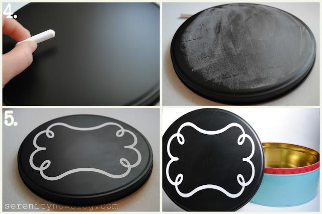chalkboard paint cookie tin