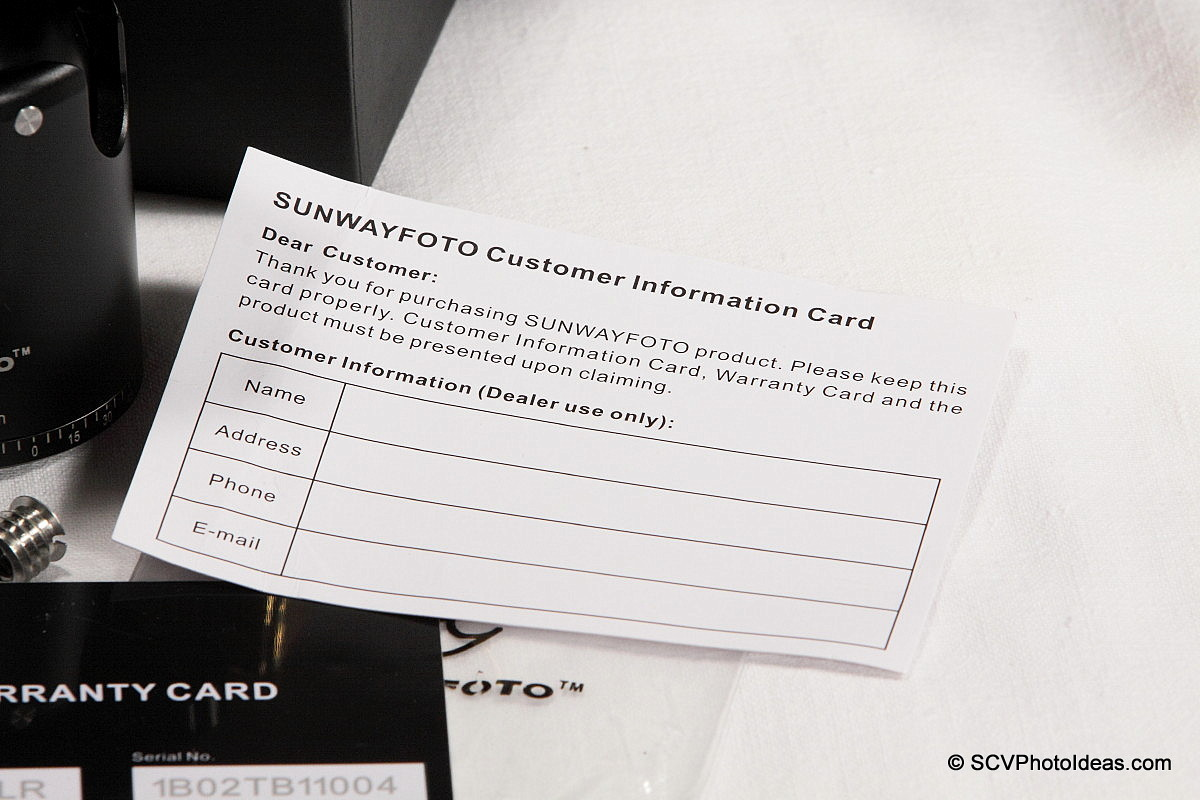 Sunwayfoto DB-36TRLR customer info card