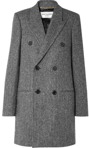 Saint Laurent - Double-breasted Herringbone Wool Coat – Gray
