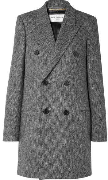 Saint Laurent - Double-breasted Herringbone Wool Coat – Gray