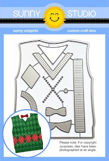 Sunny Studio Stamps: Sweater Vest A2 Card Low Profile Metal Cutting Die Set