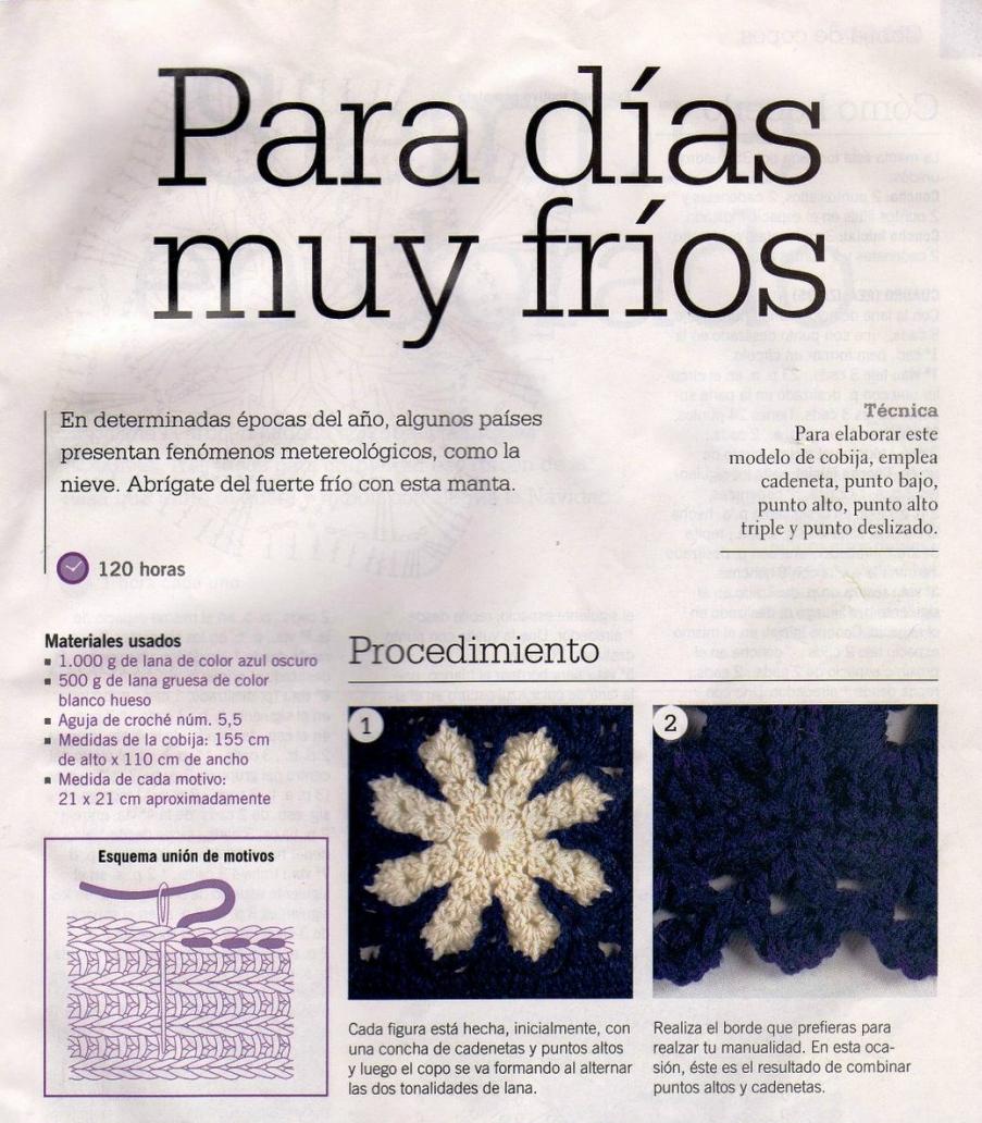 Manta Copo de Nieve Crochet Patron