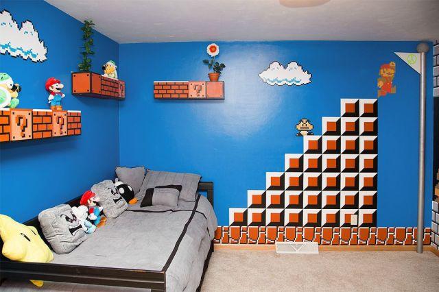 Bilik Tidur Bertemakan Permainan Super Mario Yang Mantap Ini Direka Khas Untuk Anak Perempuannya