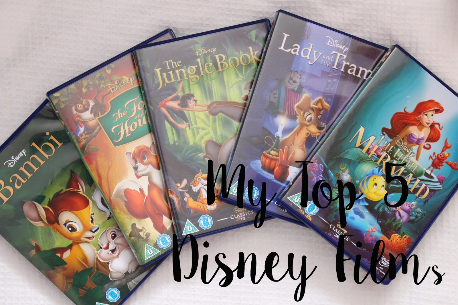 My Top 5 Disney Films The little mermaid bambi jungle book fox and the hound lady and the tramp reviews blog lifestyle UK