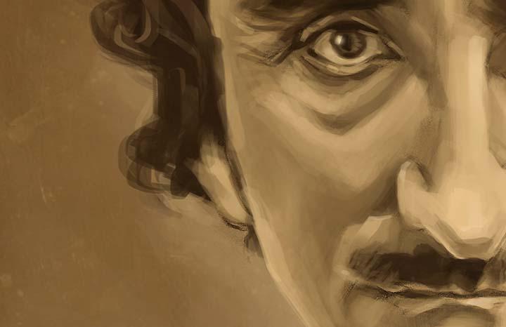 """Líneas y Letras, """"Edgar Allan Poe"""", caricatura por Don Fingo (Leonardo Arias A.)"""