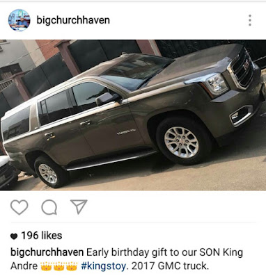 Image result for Check out the early birthday gift Tonto Dikeh's husband got their son