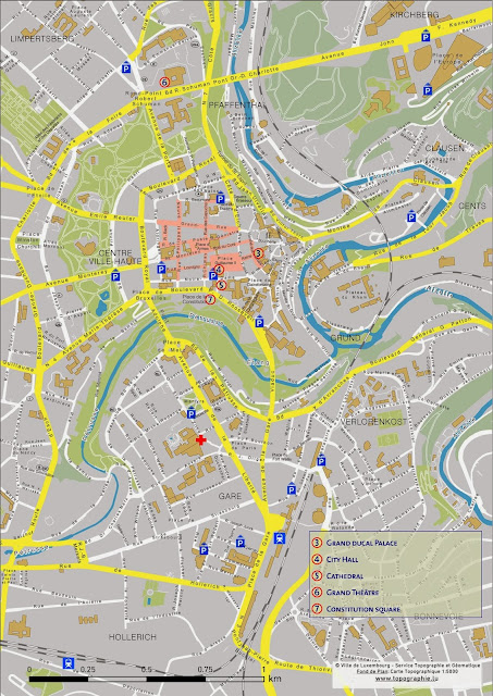 Mapa da cidade de Luxemburgo