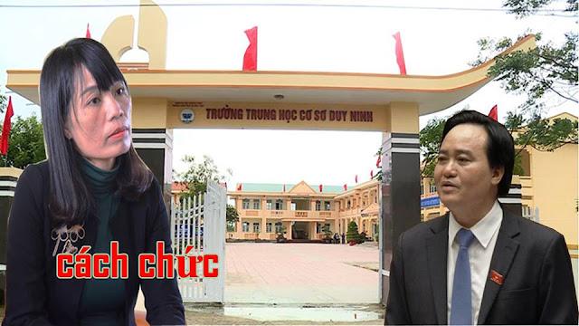 Sở Giáo dục Quảng Bình quyết định kỷ luật cách chức Hiệu trưởng với bà Phạm Thị Lệ Anh