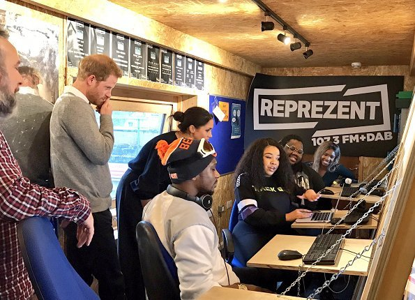 Prince Harry and Meghan Markle visited Reprezent 107.3FM in Brixton in order to see the radio channel's activities which support young people