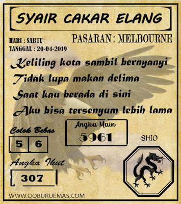 Syair MELBOURNE,20-04-2019