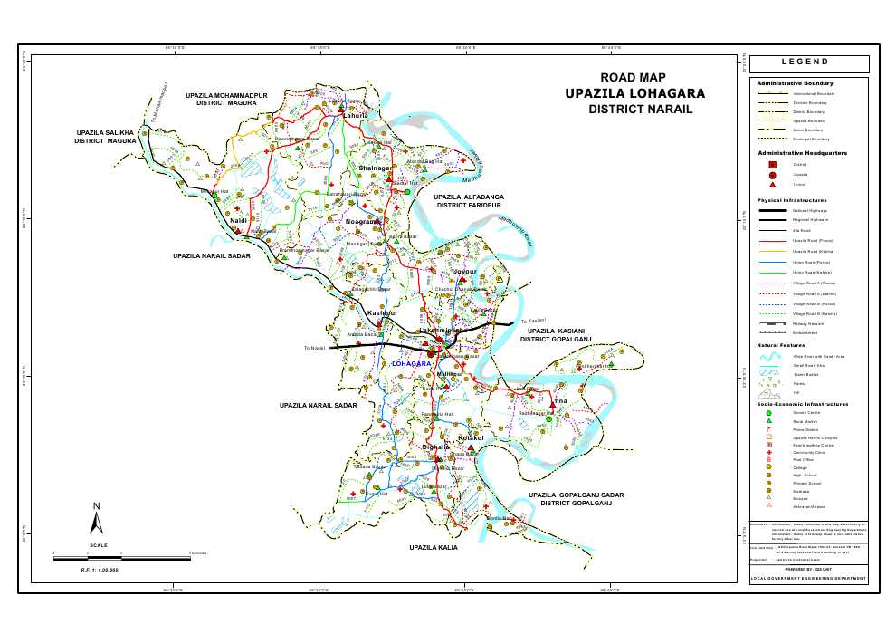 Lohagara Upazila Road Map Narail District Bangladesh