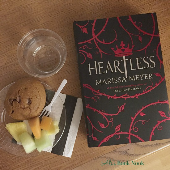 Heartless by Marissa Meyer and refreshments from the Mad Hatter tea party
