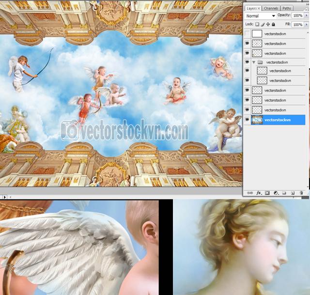 Continental bầu trời bức bích họa trần Angel  3d.