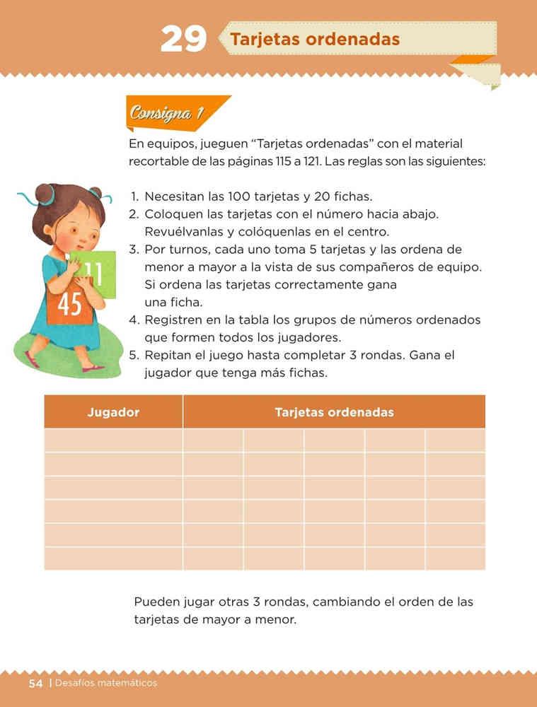 Libro de textoDesafíos MatemáticosTarjetas ordenadasPrimer gradoContestado