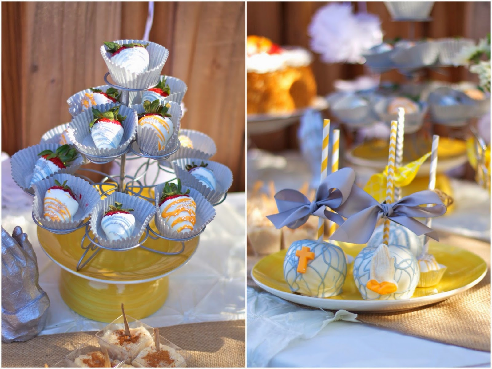 Themed chocolate covered strawberries, first communion candied apples, decorated candied apples, yellow and gray candied apples, yellow and gray chocolate covered strawberries