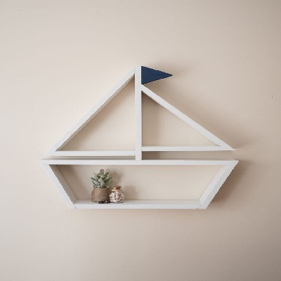 unique wooden boat wall shelf idea