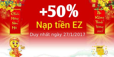 Khuyến mãi Mobifone tặng 50% giá trị thẻ nạp ngày 27/1