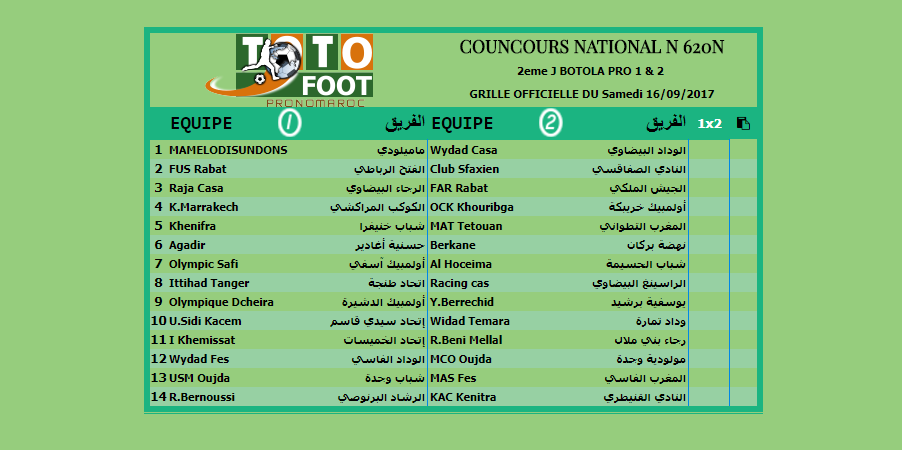 PRONOSTIC TOTOFOOT NATIONAL N 620N
