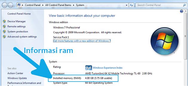 Cara melihat ram laptop di system control panel melalui shortcut keyboard