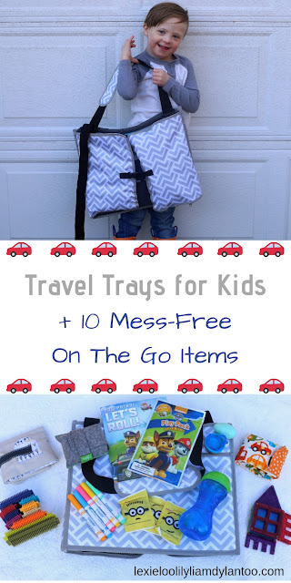 Travel Trays for Kids + 10 Mess-Free On The Go Items #roadtrips #roadtripideas #traveltoys #travelwithkids #travel