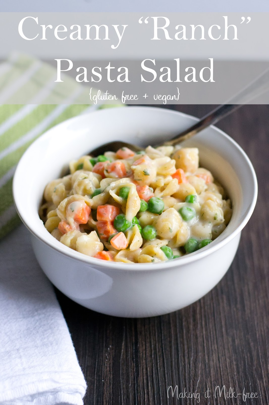 Creamy Ranch Pasta Salad {vegan + gluten free} from Making it Milk-free