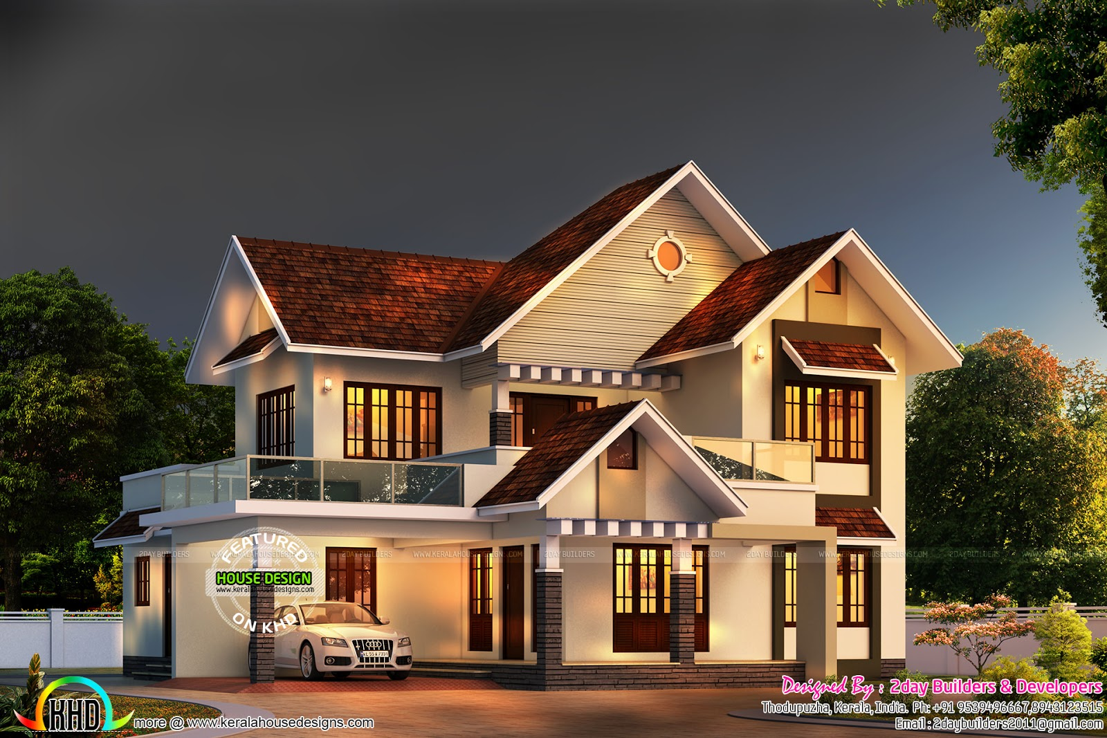 Colonial type shingles slope roof home kerala home for Cottage style roof design