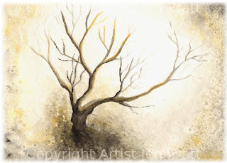 watercolor paintings, landscape artworks, tree art