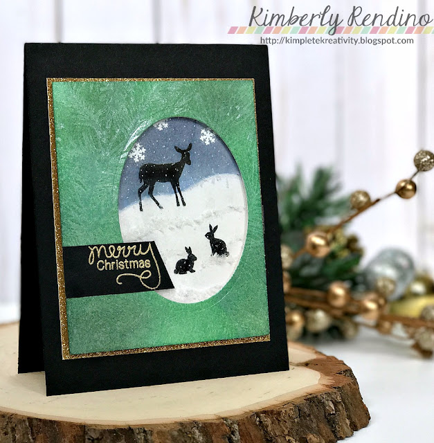 handmade card | holiday card | serene silhouettes | woodland creatures | stamping | cardmaking | kimpletekreativity.blogspot.com | Newton's Nook Designs | Impression Obsession | Christmas card | shaker card | papercraft
