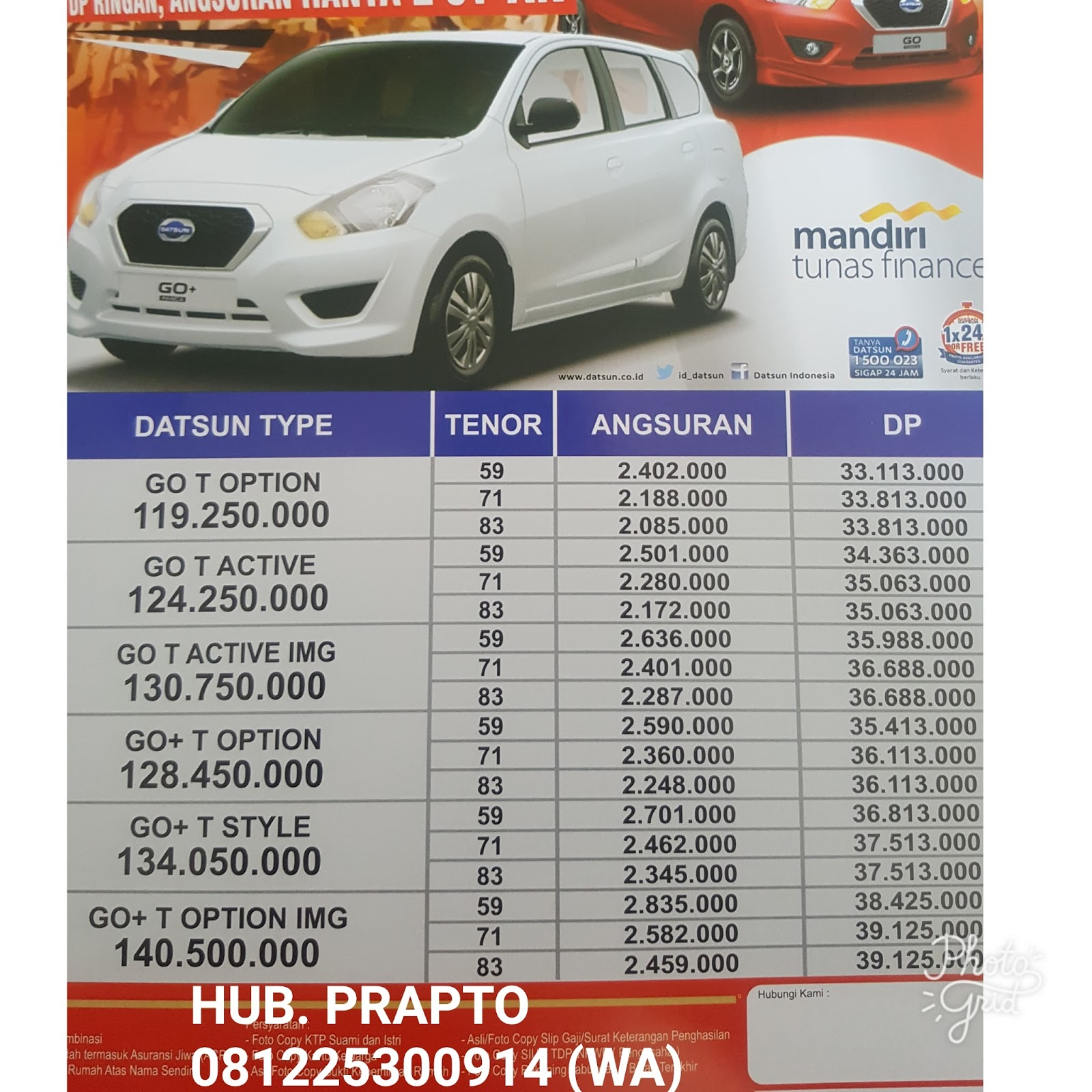 Harga Datsun Go PANCA, Go+ DP 7jt |081225300914 ~ DEALER ...