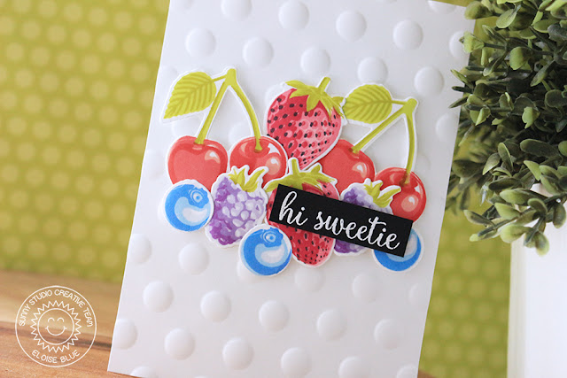 Sunny Studio Stamps: Berry Bliss Dotted Embossed Background Card by Eloise Blue