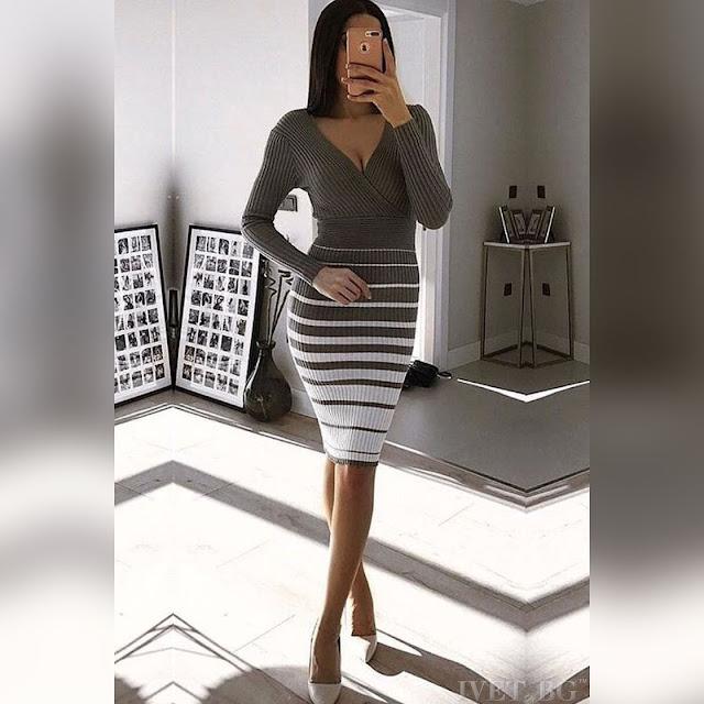 Μακρυμάνικο μεσάτο γκρι φόρεμα ANIKA GREY