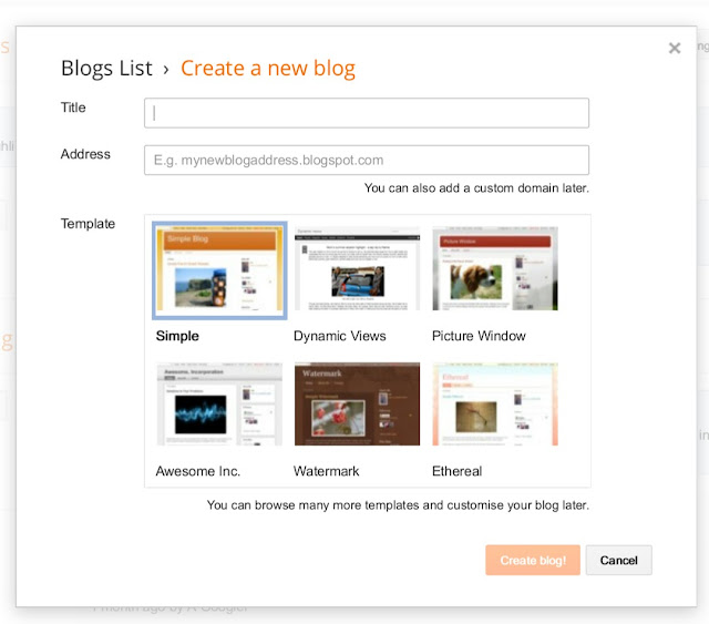Create a new blogger account