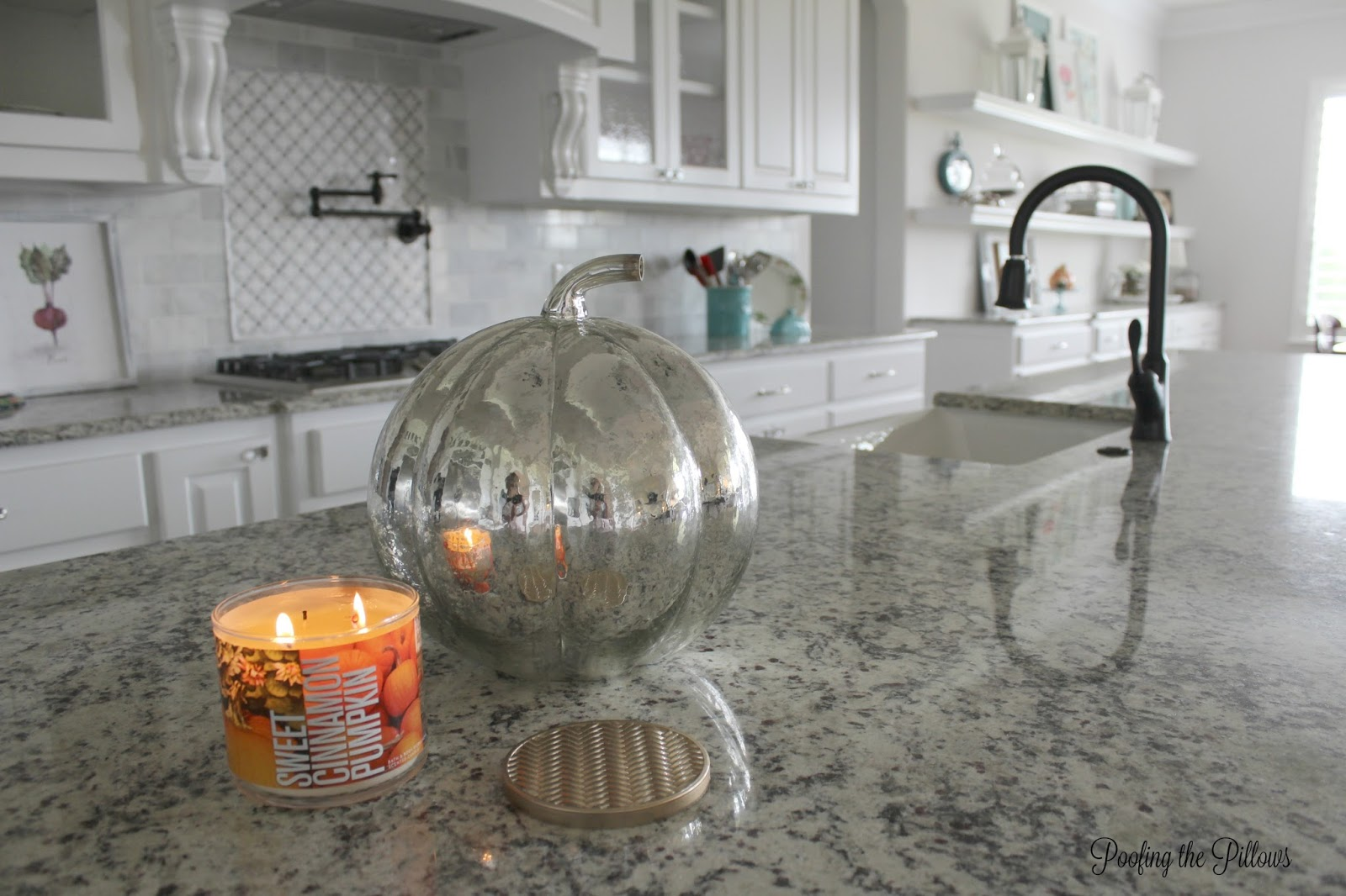 easy fall decor ideas, light a candle to transform a space, mercury glass pumpkins