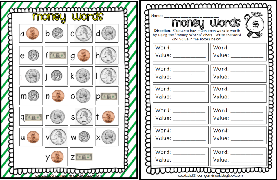 8 letter word for money the classroom nook focus on money 13912