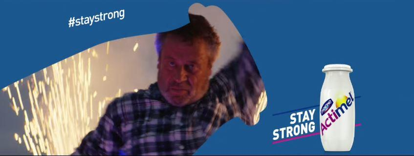 Canzone Actimel pubblicità Stay Strong con vecchietto che balla nella fattoria - Musica spot Novembre 2016