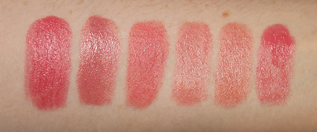 swatch Chanel Rouge Coco in 424 Edith, Harlotte in Peak-a-Boo, Pink Holiday in Weekend in Como, MAC in Creme Cup, MAC in Angle, MAC in Lovelorn