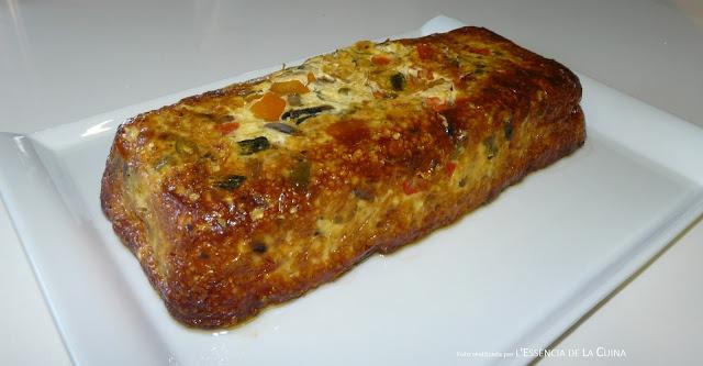 Pastís de Verdures, pastel de verduras, cocina vegetariana, cuina vegana, l'essencia de la cuina, blogdecuinadelasonia, sana, crema parmesano, parmesà