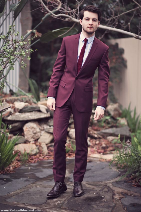 Ditch The Basic Color Variants For A Burgundy Or Marsala Colored Suit Rich Wine Is Sure To Make You Star Of Evening Which