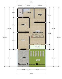 Denah rumah 6x12 3 Kamar 1 Lantai