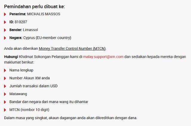 XM Forex local depositor Malaysia guna Western Union