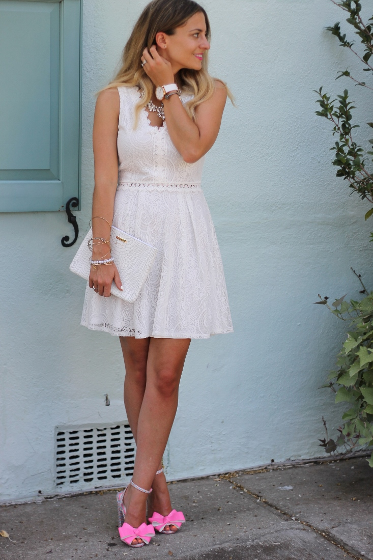 Bedazzles After Dark Outfit Post White Lace Skater Dress