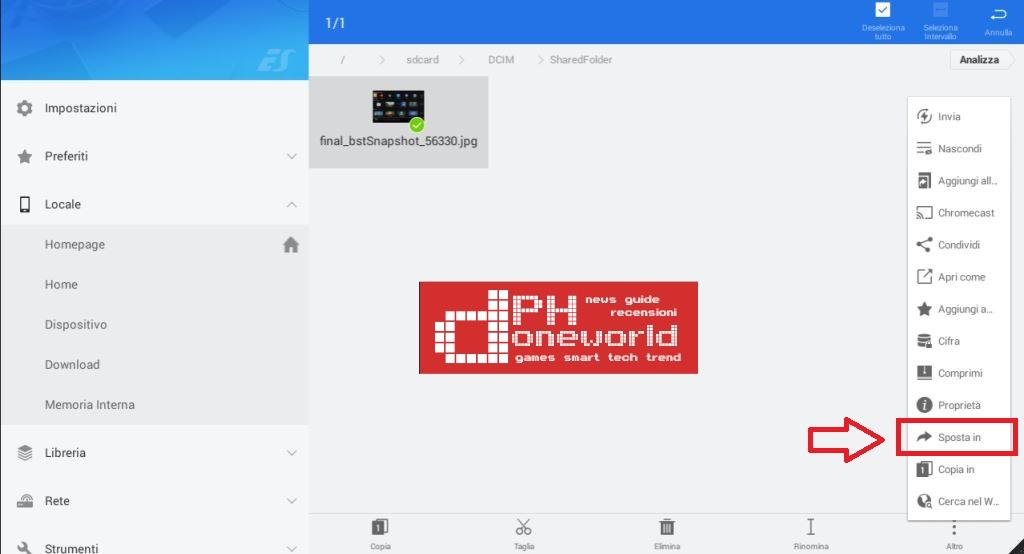 Come usare ES Gestore file per muovere foto, video e file sulla scheda SD con Huawei P9 Plus