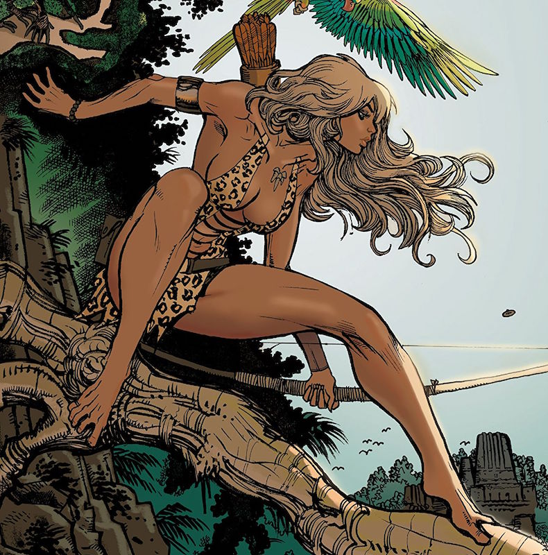 Sheena, Queen of the Jungle #0 Story: Marguerite Bennett, Christina Trujillo Art: Moritat Colors: Andre Szymanowicz. Letters: Thomas Napolitano Covers: Emanuela Lupacchino, Fabio Mantovani, J. Scott Campbell, Sabine Rich, Moritat, Andre Szymanowicz, Ryan Sook. Sheena created by Will Eisner and Jerry Iger.
