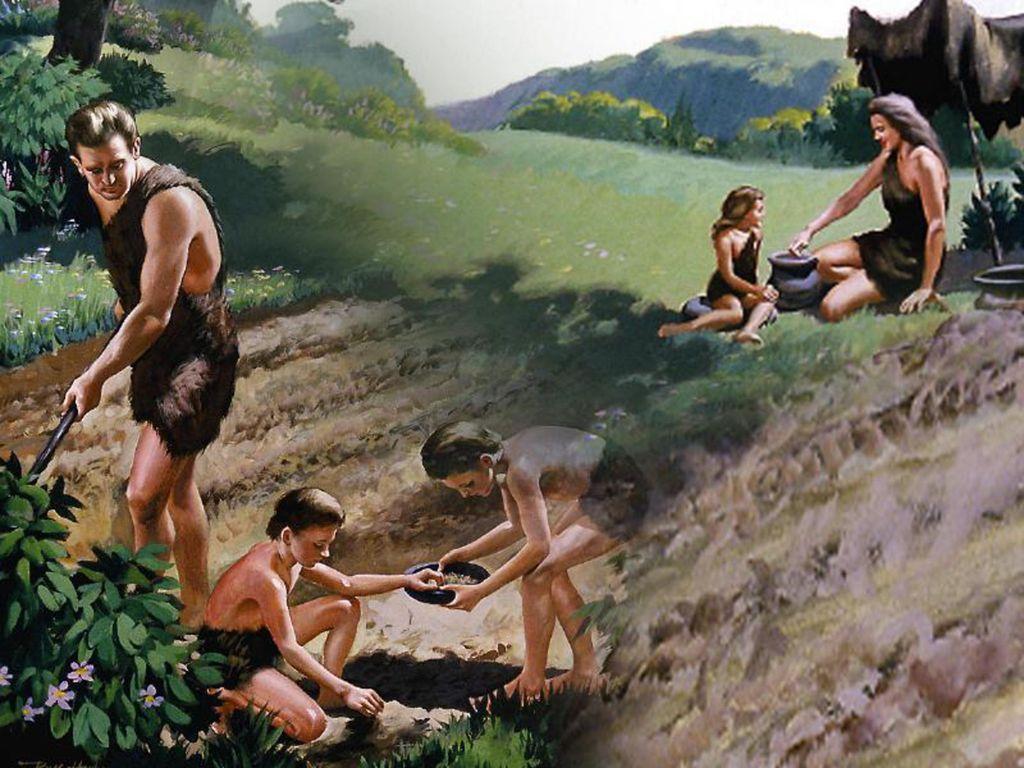 Ilustração de Adão, Eva e seus filhos